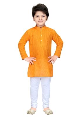 Yellow woven cotton boys-kurta-pyjama
