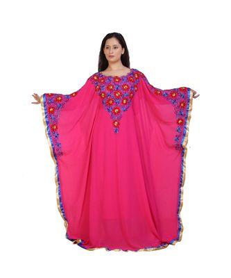 pink georgette embroidered aari work islamic-kaftans