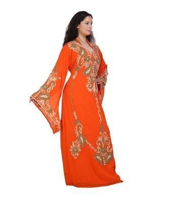 orange georgette embroidered aari work islamic-kaftans
