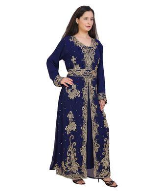 blue georgette embroidered zari work islamic-kaftans