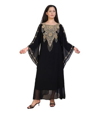 black georgette embroidered zari work islamic-kaftans