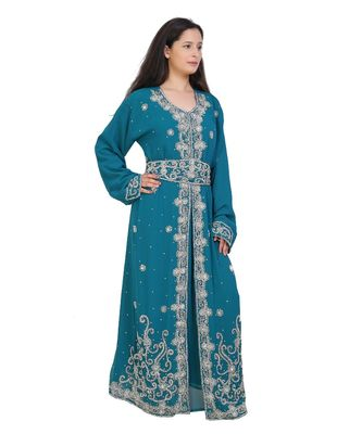 turquoise georgette embroidered zari work islamic-kaftans