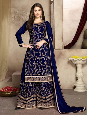 Blue Designer Party Wear Plazo Suit