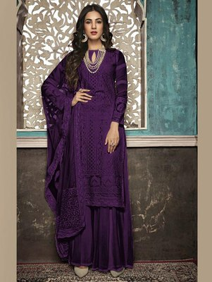 Purple Designer Party Wear Plazo Suit