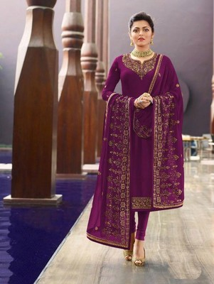 Purple Satin Georgette Party Wear Suit