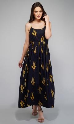 Navy-blue printed viscose rayon maxi-dresses