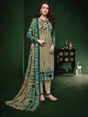 Green & Grey Designer Pashmina Suit