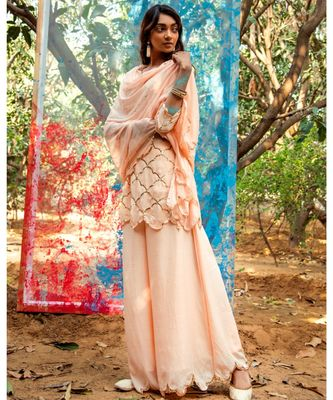 Geha Peach embroidered cotton silk kurta-sets