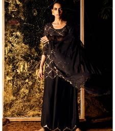 Vihari Black embroidered cotton silk kurta-sets