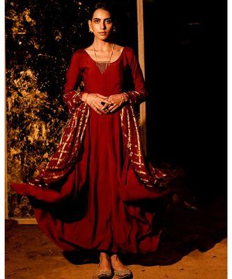 Datri maroon embroidered cotton silk kurta-sets