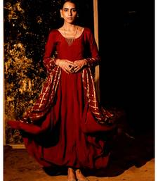 Datri maroon embroidered cotton silk kurta-sets