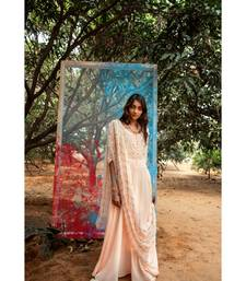 Tanuh Peach embroidered cotton silk kurta-sets
