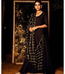 Gamyaa Black embroidered cotton silk kurta-sets