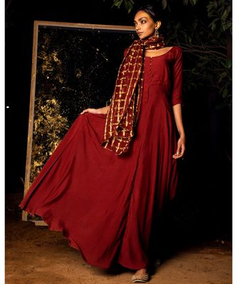 Gati maroon embroidered cotton silk kurta-sets
