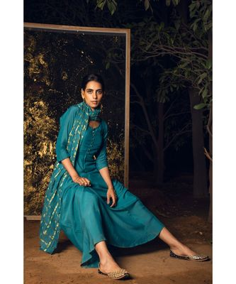 Kaari blue embroidered cotton silk kurta-sets