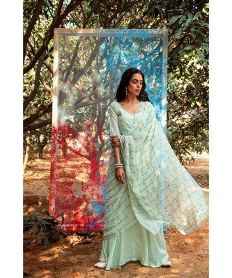 Sevya green embroidered cotton silk kurta-sets