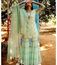 Samyuta green embroidered cotton silk kurta-sets