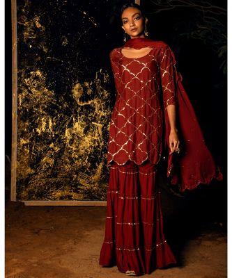 Vilasini maroon embroidered cotton silk kurta-sets