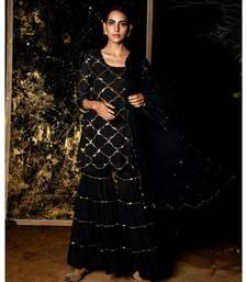 Vrinda Black embroidered cotton silk kurta-sets