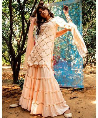 Kasita Peach embroidered cotton silk kurta-sets