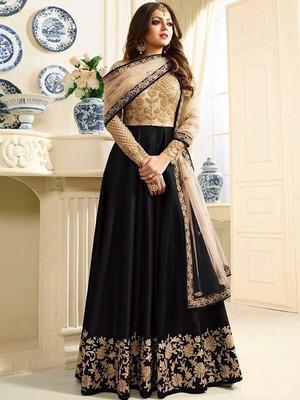 Black Mulberry Silk Designer Anarkali Suit