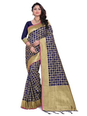 Blue embroidered banarasi saree with blouse