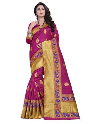 Magenta embroidered banarasi saree with blouse
