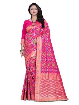 Pink embroidered banarasi saree with blouse