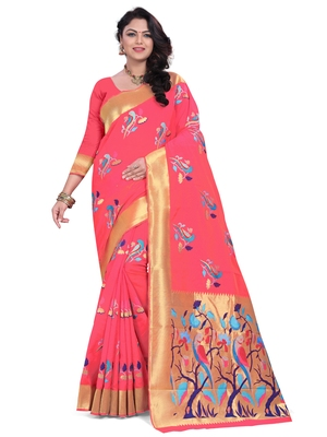 Pink embroidered banarasi saree with blouse
