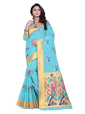 Sky blue embroidered banarasi saree with blouse