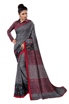 Grey printed silk saree with blouse