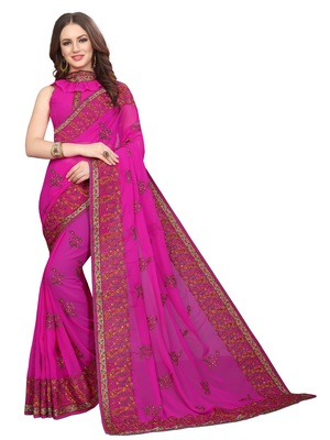 Magenta embroidered georgette saree with blouse