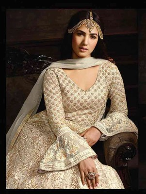 Off White Anarkali Party Wear Designer Suit