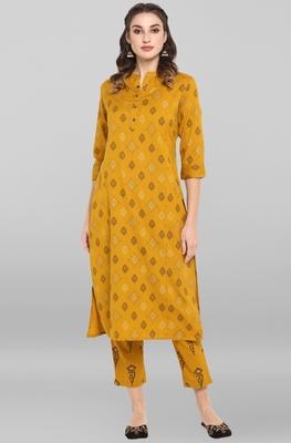 Women's Mustard Cotton Kurta With Pant