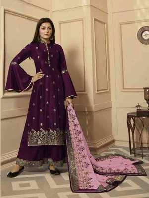 Purple Party Wear Designer Plazo Suit