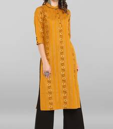 Women's Mustard Cotton Kurta With Palazzo