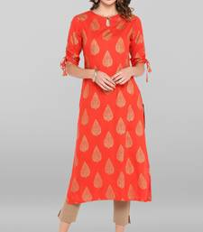 Women's Coral Red Rayon Kurta With Pant