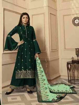 Dark Green Party Wear Designer Plazo Suit