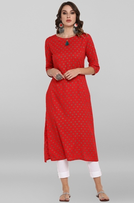 Women's Red Rayon Kurta With Pant