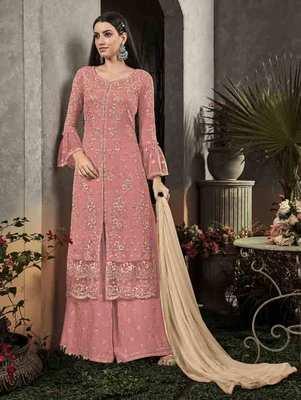 Light Pink Party Wear Designer Plazo Suit