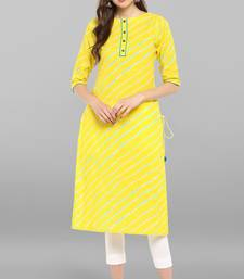 Women's Yellow Pure Cotton Kurta With Pant