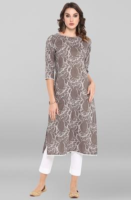 Women's Grey Cotton Kurta With Pant