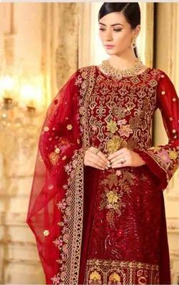Red Party Wear Designer Pakistani Suit