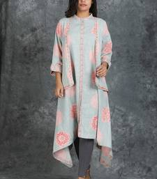 Asymmetrically Tailed Kurti With Jacket and White Pants