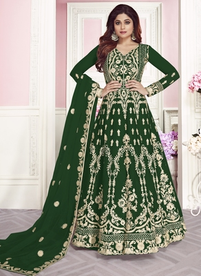 Green Color Embroidered Net semi stitched Anarkali Suit