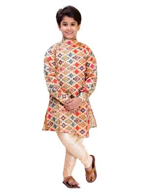 Multicolor printed cotton silk boys-kurta-pyjama