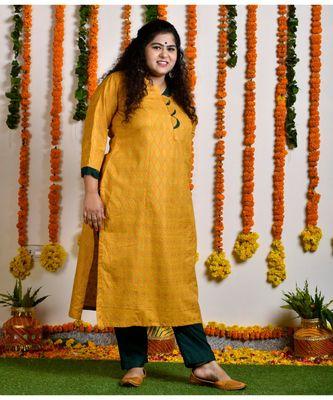 Mustard yellow scallop gold block princess line kurta