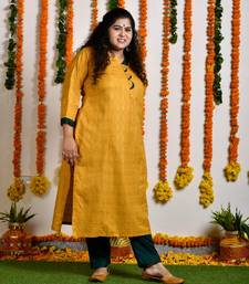 Mustard yellow scallop gold block princess line kurta