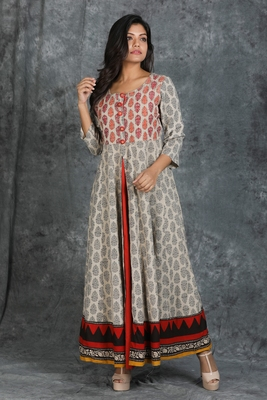 Floral Printed Front Slit Anarkali Cotton Kurti