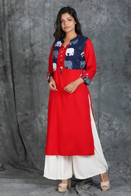 Vermillion Red Kurti with Running Stitch with Elephant motif Waist Coat